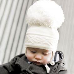 Satila of Sweden - Ivory Diamond Knit Pom-Pom Bobble Hat | CHILDRENSALON