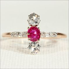 Edwardian Ruby and Diamond Ring, 14k Gold and Platinum by VictoriaSterling on Etsy https://www.etsy.com/listing/197586270/edwardian-ruby-and-diamond-ring-14k-gold