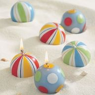 cute candles for a beach party..put in a bowl filled with sand for a centerpiece