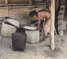 Seminaked Mros (Mrus or Moorangs) tribal woman cleaning rice seed prior to storage, Menron Para Village, Bandarban district, Chittagong Hill Tracts, Bangladesh, Indian Sub-Continent, Asia
