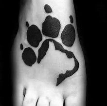 Image result for paw print with dog silhouette tattoos