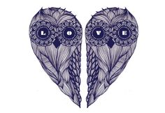 Owl + Love TEMPORARY TATTOO by Gabrielle Laïla Tittley (Canada) Simply apply it with water on any part of your body, let it dry and be super cool ! www.OOTTAT.com