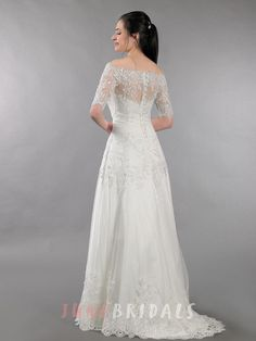 Lace Wedding Dress With Off Shoulder Bolero Alencon Lace