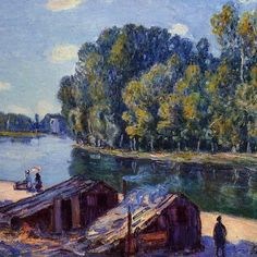 Alfred Sisley — Cabins along the Loing Canal, Sunlight Effect