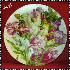Glass plate/ricepaper decoupage