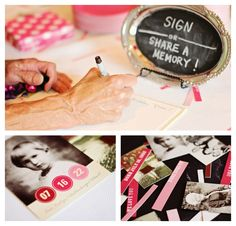"Cute ideas to adopt for a wedding instead of a birthday.   Love the ""Sign"" in idea"