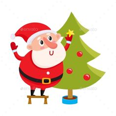 Cute and funny Santa Claus decorating a Christmas tree, cartoon vector illustration isolated on white background. Cartoon Santa Claus hanging balls on Christmas tree, holiday season decoration element