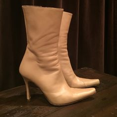 Charles David heeled boots Beautiful bone colored leather boots. Made in Italy Charles David Shoes Heeled Boots