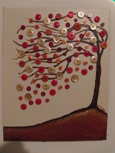 Button Tree Acrylic Painting
