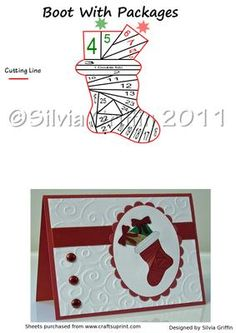 Christmas Stocking with Gifts on Craftsuprint designed by Silvia Griffin - Christmas Boot with Gifts Iris Folding Pattern.I hope you like it and get lots of use from it. Please check out my other patterns. Thank you very much for looking :) - Now available for download!