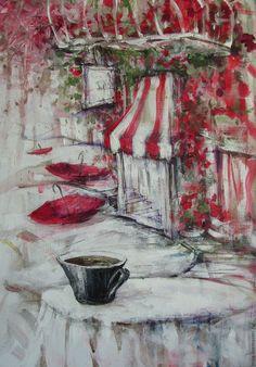 Купить Снова дождливое утро... - комбинированный, красный, серый, белый…