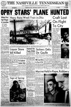 March 1963 Grand Ol Oprey star, Patsy Cline dies in a plane crash.