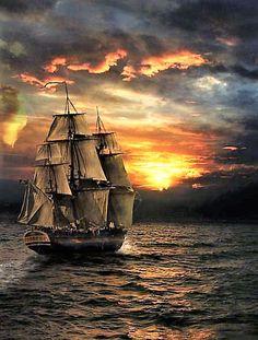ship at sea sunset Old Sailing Ships, Ship Paintings, Amazing Gifs, Boat Art, Wooden Ship, Pirate Life, Sail Away, Am Meer, Ship Art