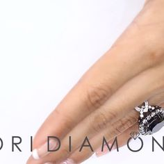 10.34 Carat Certified Black Diamond Engagement Ring Pave Halo 18k White Gold - Style # BDR-254 - $8,800