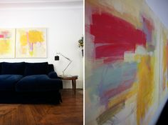"""How to make you own abstract art, step-by-step DIY guide. kind of neat, beats the hefty price tag of """"real"""" art."""