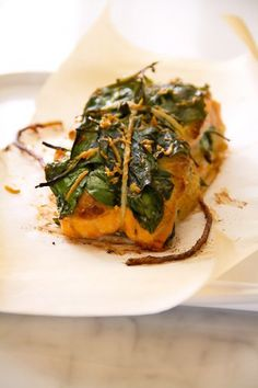 Roast Salmon Fillet Stuffed with Spinach