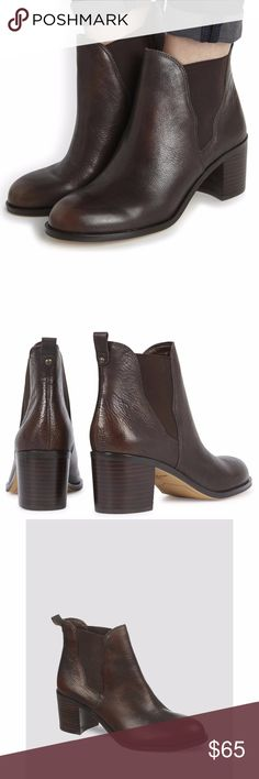 NWT Sam Edelman Sam Edelman Women's Justin Dark Leather Ankle BROWN Boots Sam Edelman Shoes Ankle Boots & Booties