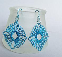 Hand Crochet Wire Blue Ocean Squares Earrings by by PrayerMonkey, $15.00