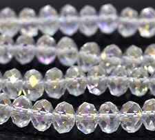 50pcs Clear AB Crystal Glass Faceted Rondelle Loose Beads 5040 8mm x 6mm