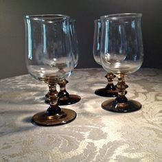Vintage Libby Wine Glasses in Tulip Smoky Brown by vintagepoetic on Etsy