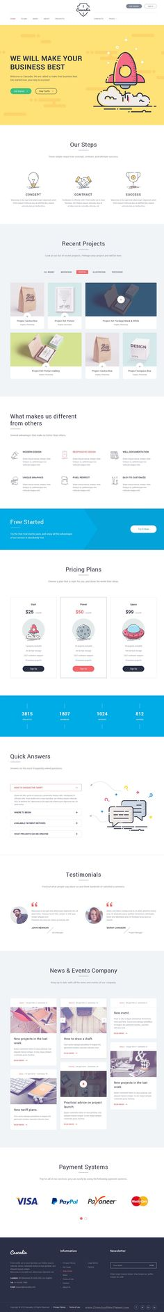 Cascadia is a great, modern design with unique illustrations and icons, a multi-purpose #PSD #template suitable for any type of studio, agency, corporate, finance services, business #websites. Download Now!