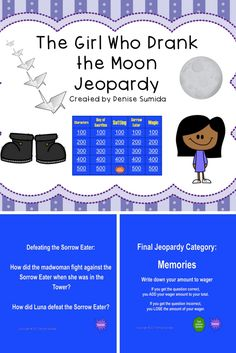 This game is a perfect way to review concepts and ideas from The Girl Who Drank the Moon Jeopardy by Kelly Barnhill. Jeopardy categories are Characters, Day of Sacrifice, Setting, Sorrow Eater, and Magic. Divide your class into teams or challenge your class to play other classes.