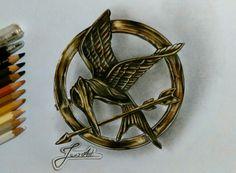 Mockingjay pin drawing  broszka kosogłos rysunek ~Jaro Art/Fb