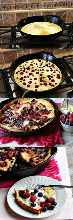 Pin 219 inspiration: yummy and easy . Double Berry Puff Pancake - PERFECT for a brunch party. my favorite kind What's For Breakfast, Breakfast Dishes, Breakfast Recipes, Breakfast Pancakes, Perfect Breakfast, Think Food, Love Food, Snacks, Brunch Recipes