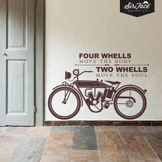 Two Wheels Wall Decal  Words Wall Sticker  by SirFaceGraphics, £27.00