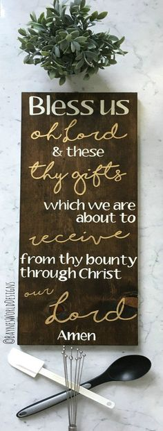 Bless Us Oh Lord|VERTICAL Sign|Dinner Prayer|Rustic Wood Sign|Kitchen Decor|Dining Room Decor|Wood Sign Blessing|Prayer|Copper|Gold|Silver