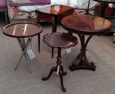 Dark wood side tables.