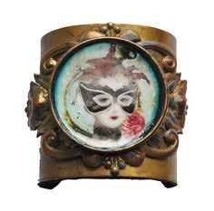 Steampunk Cuff with mixed media image Marie by AbsyntheDesigns, $75.00