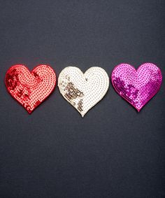 mini hearts with broach or hair double backing.  Cute for Valentines Day!
