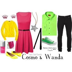 """""""Fairly Odd Parents Cosmo & Wanda Couples Outfits"""" by mamaspartydress on Polyvore"""