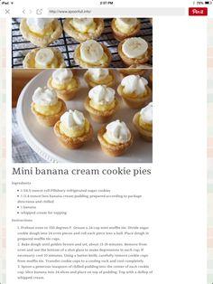 Mini Banana Cream Cookie Pies