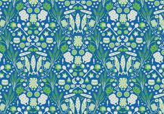 blue green pattern with food