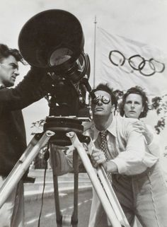 Leni Riefenstahl and assistant behind the camera. Berlin Olympics, 1936. Photo by Lothar Rubelt.