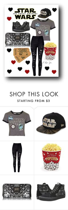 """""""Date Night: Movie"""" by kayley2103 ❤ liked on Polyvore featuring Topshop, New Era, WithChic, West Bend, Loungefly and Vans"""