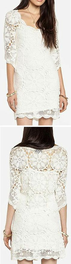 Crochet Boho Lace Dress ♥ would look cute with cowboy boots