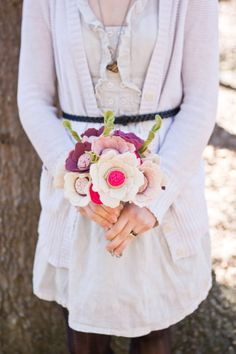 Wedding Bouquet - Felt Flower - Custom - Alternative Bouquet - Wedding - Pink, Plum, and Ivory -