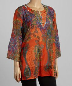 Loving this Orange Paisley V-Neck Tunic - Plus on #zulily! #zulilyfinds