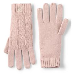 Lands' End Women's Cashmere Cable Gloves ($69) ❤ liked on Polyvore featuring accessories, gloves, red, lands' end, red gloves, cashmere gloves, lands end gloves and cable knit gloves