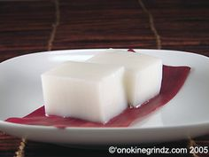 Haupia is a coconut pudding-like dessert that you will find served at any lu'au or Hawaiian food restaurant.  More like a gelatin-based dessert, rather than a pudding, haupia is usually served cut into squares for easy eating.
