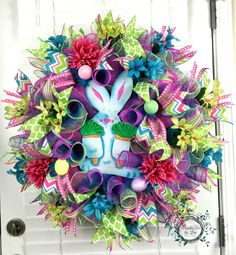 Easter Deco Mesh Wreath - Easter Bunny Wreath - Spring Bunny Wreath - Easter Decor - Easter Door Wreath - Easter Eggs - Spring Mesh Wreath by WreathsEtcbyLisa on Etsy