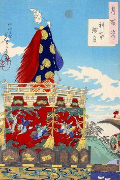 月岡芳年 - 月百姿 神事残月 旧山王祭 (1887) ID:201402232000