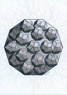 #polyhedron #solid #geometry #symmetry #pentagon #penrose #mathart #regolo54 #handmade #pencil #escher