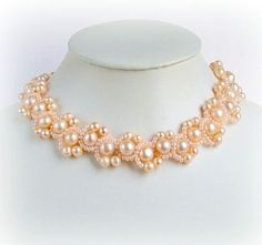 Free pattern with detailed written instructions for beaded necklace Peach Delight U need: seed beads