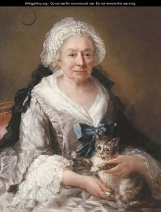 Portrait of an old lady, seated half-length, in a lilac satin dress with embroidered cuffs and head-dress and a blue ribbon, a cat on her lap by Francesco Zuccarelli