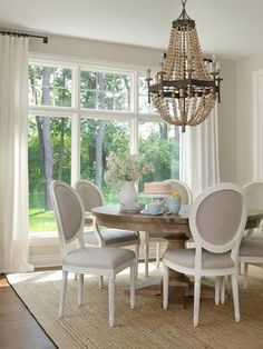 Gray French Dining Chairs, Transitional, dining room, Sherwin Williams Agreeable Gray, Bria Hammel Interiors love the colors in this dining room Dining Room Design, Dining Room Furniture, Furniture Ideas, Wolf Furniture, Teak Furniture, Kitchen Design, Round Wood Table, Wood Bead Chandelier, Empire Chandelier