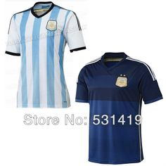 Argentina 2014 World Cup Soccer Argentina Away Jersey Messi Aguero Higuain Tevez  Zanetti Argentina Shirt Best Thai Quality  $28.50 - 29.50